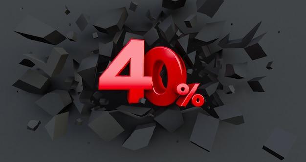 40 quaranta per cento di vendita. idea del venerdì nero. fino al 40%