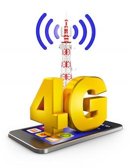 4g sullo smartphone e una torre di comunicazione. rendering 3d.