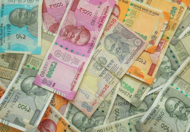 50, 200, 500 e 2000 rupie indiane per lo sfondo degli affari