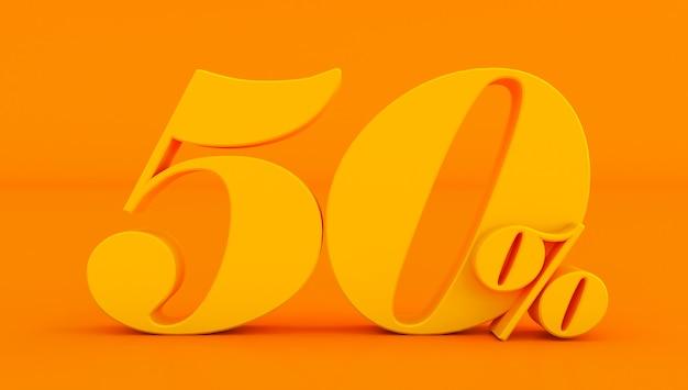 50% giallo cinquanta per cento su uno sfondo colorato. rendering 3d