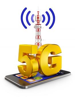 5g sullo smartphone e una torre di comunicazione. rendering 3d.
