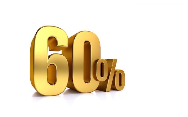60% di sconto. in vendita. ottimo affare sessanta. metà. illustrazione rendering testo 3d isolato con grandi caratteri dorati su sfondo bianco.