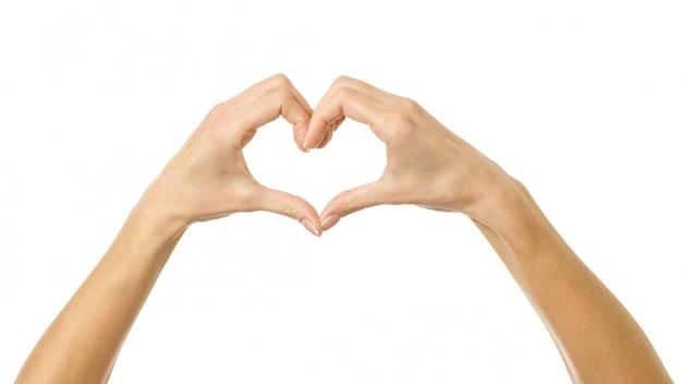 A forma di cuore. mano della donna con gesturing isolata su bianco
