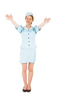 Abbastanza hostess con le braccia alzate