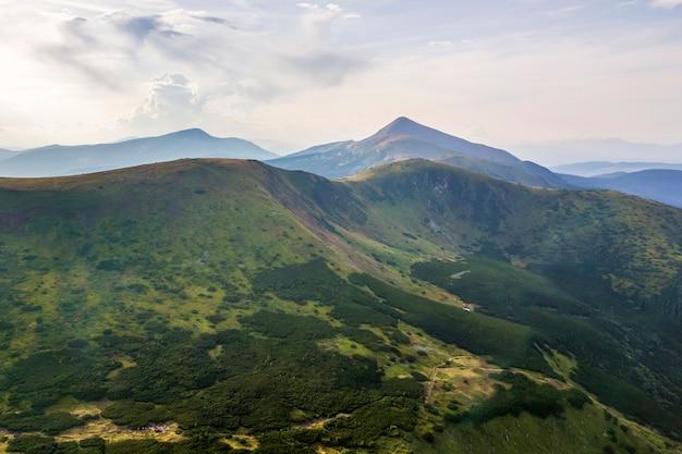 Abbellisca la vista delle montagne carpatiche maestose verdi coperte di foschia leggera nell'alba.