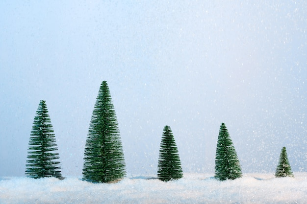 Abeti sulla nevicata blu
