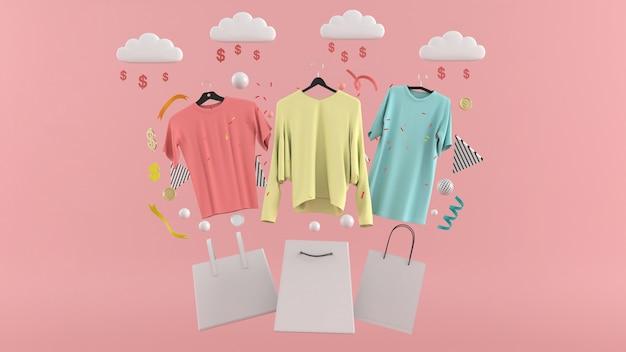 Abiti, pantaloni, felpe, cappelli, borse, tacchi alti e occhiali da sole tra palline colorate