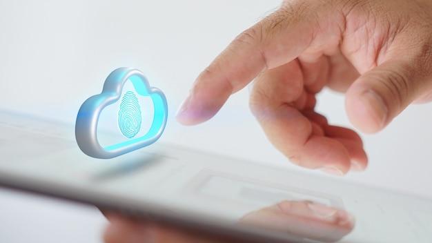 Accesso all'archiviazione dati cloud sullo schermo con scansione delle impronte digitali, concetto di sicurezza informatica