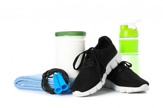 Accessori di stile di vita sano isolati su bianco