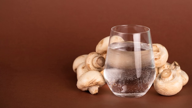 Accordo con funghi e bicchiere d'acqua