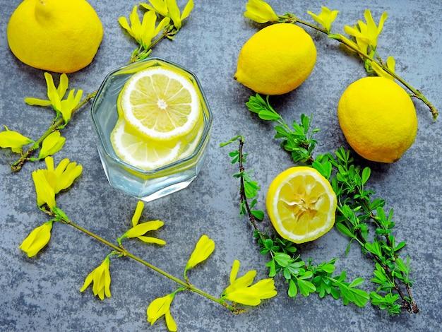 Acqua disintossicante con succo di limone e fiori gialli sui rami.