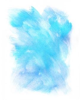 Acquerello blu astratto su fondo bianco