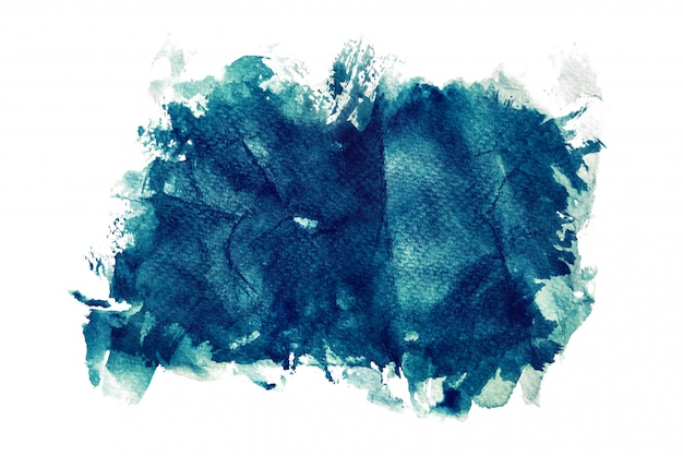 Acquerello blu scuro isolato su sfondi bianchi, mano dipinto su carta stropicciata