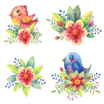 Acquerello carino, uccelli decorativi di rosa e blu in colori vivaci e foglie.