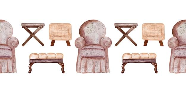 Acquerello che disegna le sedie e le panche molli del modello senza cuciture. elemento interno