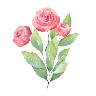 Acquerello con delicati fiori primaverili