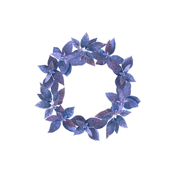 Acquerello corona rotonda con basilico fresco blu viola.