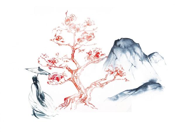 Acquerello paesaggio orientale illustrazione.