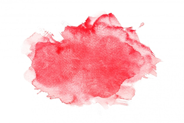 Acquerello rosso isolato su sfondi bianchi, dipinto a mano su carta