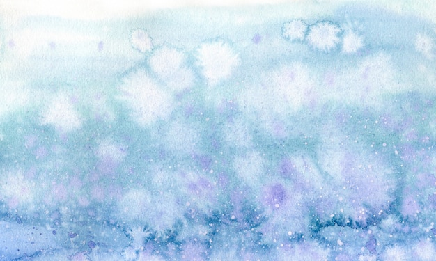 Acquerello sfondo blu e viola con spruzzi d'acqua per il design e la stampa. illustrazione disegnata a mano del cielo o della neve.