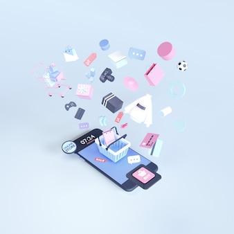 Acquisti online. negozio online su sito web o applicazione mobile. sfondo di rendering 3d. negozio di marketing digitale