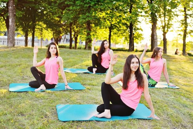 Addestramento del gruppo di yoga sull'erba su un tramonto della priorità bassa.