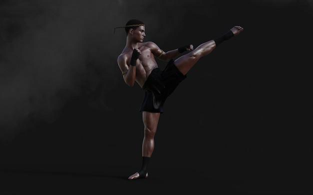 Addestramento di sport umani di arti marziali dell'illustrazione 3d con il percorso di residuo della potatura meccanica, kick boxing, uomo del muscolo nello scuro.