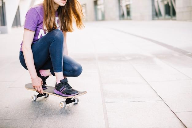Adolescente, tentativo, cavalcare, skateboard