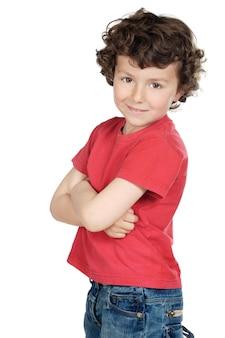 Adorabile bambino casual su uno sfondo bianco