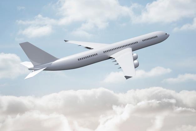 Aereo 3d che vola nel cielo