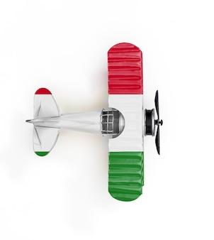 Aereo del giocattolo del metallo della bandiera nazionale dell'ungheria isolato su bianco