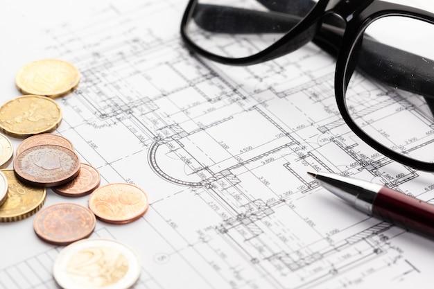 Aereo e monete della casa dell'architetto, investimento nel nuovo concetto domestico