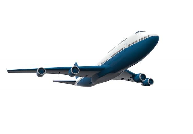 Aeroplano blu e bianco isolato isolato su bianco