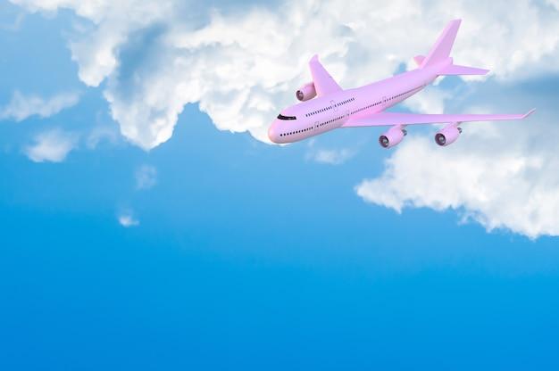 Aeroplano che vola a mock-up colore rosa