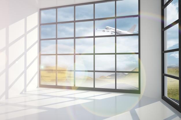 Aeroplano che vola oltre la finestra