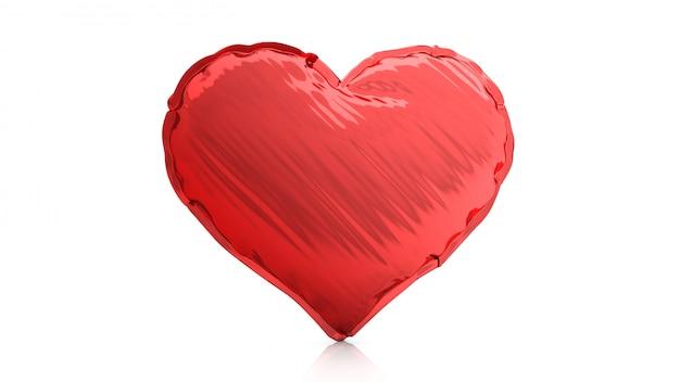 Aerostato rosso della stagnola del cuore isolato su fondo bianco. rendering 3d