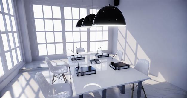 Affari d'ufficio - bella sala riunioni della sala riunioni e tavolo da conferenza, stile moderno. rendering 3d