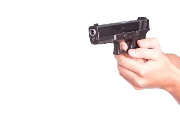 Agente uomo munizioni criminale secchione