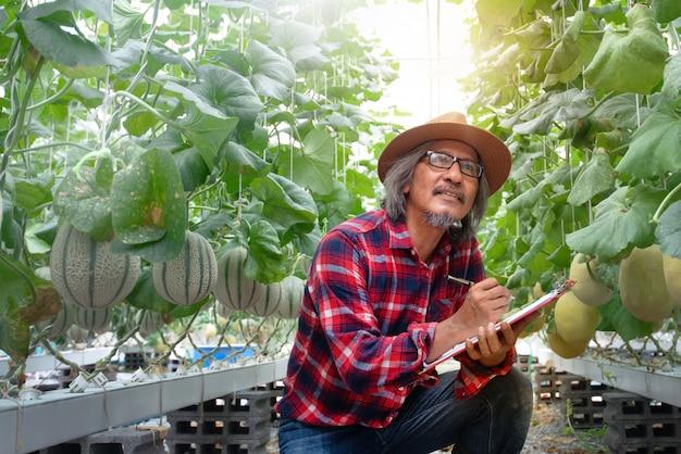 Agricoltore asiatico che controlla la qualità della pianta nella moderna agricoltura idroponica