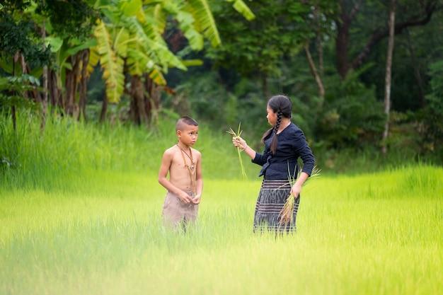 Agricoltore asiatico dei bambini sul giacimento verde del riso. concetto di ecologia nella foresta