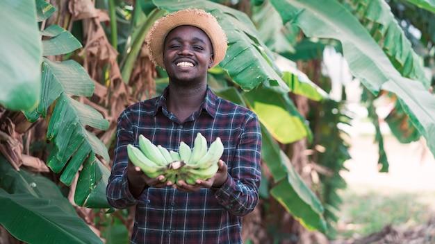 Agricoltore che tiene le banane all'azienda agricola biologica con il sorriso