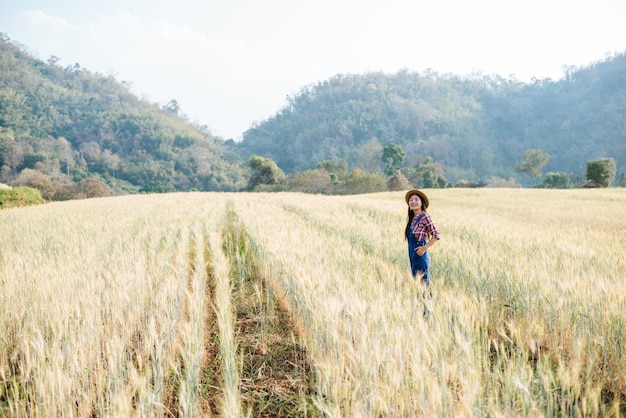 Agricoltore della donna con la stagione di raccolta del campo dell'orzo