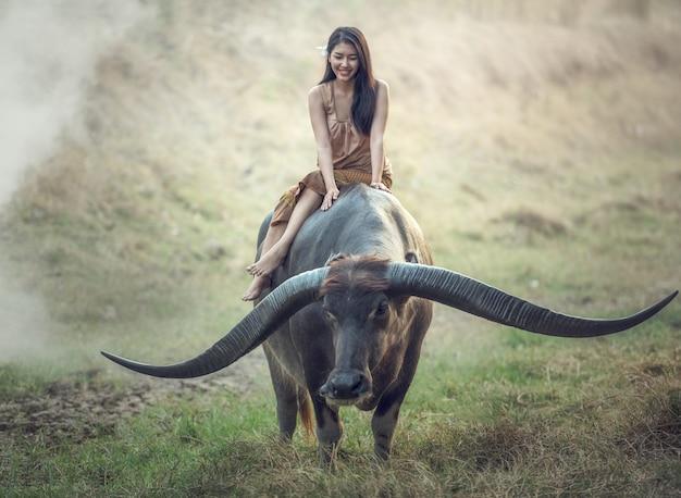 Agricoltore (tailandese) della donna asiatica con un bufalo nel campo