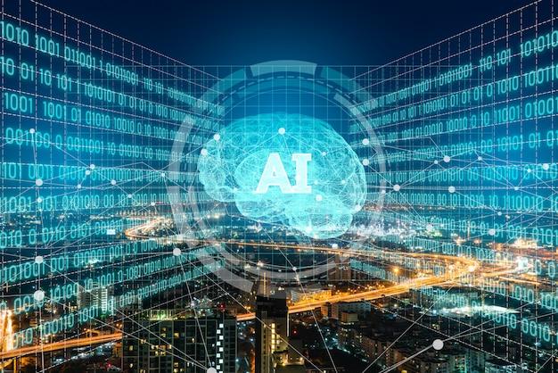 Ai (intelligenza artificiale) e sistema urbano avanzato.