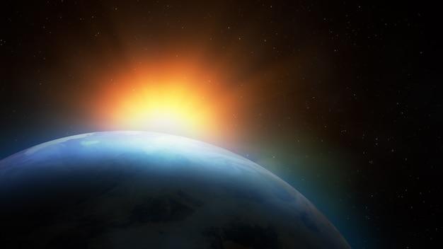 Alba sopra la terra. vista immaginaria del pianeta terra nello spazio esterno con il sol levante.