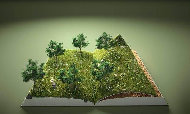 Alberi e libro di terra astratti