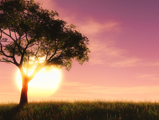 Albero 3d contro un cielo al tramonto