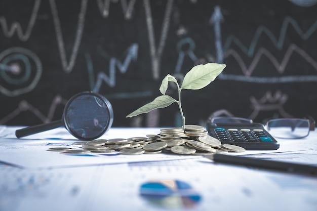Albero che cresce sulla pila di monete sul rapporto grafico finanziario con lente di ingrandimento e calcolatrice in background