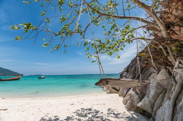 Albero d'attaccatura dell'oscillazione di legno sulla spiaggia tropicale
