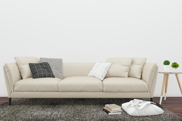 Albero del salone del fondo del cuscino e della coperta di marrone di legno scuro del pavimento di sofà beige